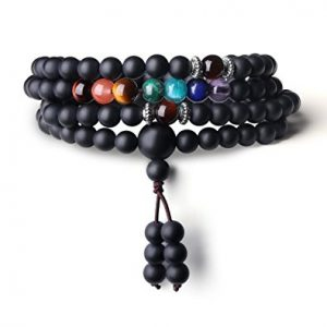 Buddhist Prayer 108 Mala Beads Matte Onyx 7 Chakra AmorWing Review