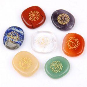 JD Gems Chakra Stones Reiki Healing Crystal Engraved Chakra Symbols Polished Palm Set 7 Review