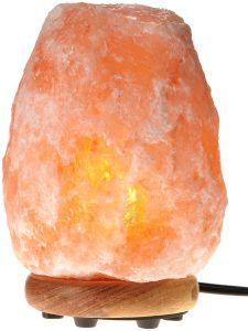 WBM Himalayan Glow Hand Carved Natural Salt Lamp Neem Wood Base Dimmer Control Crystal Amber Review
