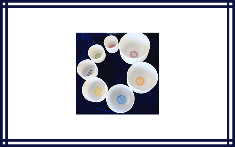 """Chakra Tuned Set Of 7 Frosted Quartz Crystal Singing Bowls 8"""" 12"""" With Chakra Design Crystal Energy Bowls Review"""