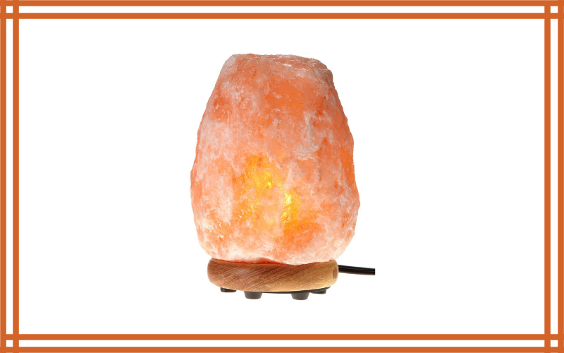 WBM Himalayan Glow 1002 Hand Carved Natural Salt Lamp With Genuine Neem Wood Basebulb And Dimmer Control, Crystal, Amber, 8 – 9 Inch, 8 – 11 Lb Review