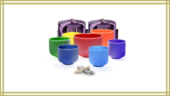 TOPFUND 432 Hz Chakra Tuned Singing Bowl Set of 7 Color Crystal Singing Bowls Review